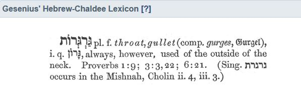 Gesenius lexicon - throat